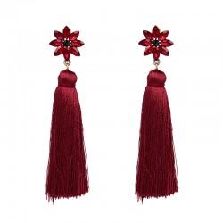 Jujia firenze øredobber med rød blomst og dusk