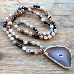 Soulliving Hvit stein halskjede med agate sten pendel - lilla